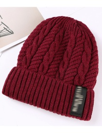 Fashion Claret Letter Patch Double Layer Plus Velvet Mens Knitted Hat