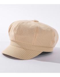 Fashion Beige Check Cotton Octagonal Beret