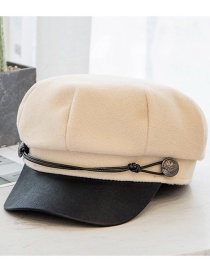 Fashion Beige Woolen Leather Rope Stitching Contrast Color Octagonal Beret