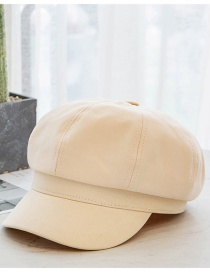 Fashion Beige Solid Color Cotton Octagonal Hat