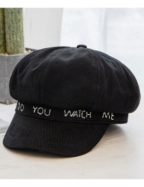 Fashion Black Letter Embroidery Octagonal Beret