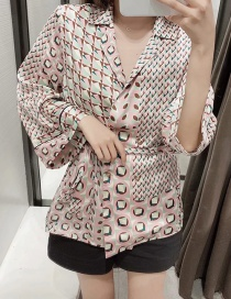 Fashion Color Geometric Print V-neck Belt Blouse