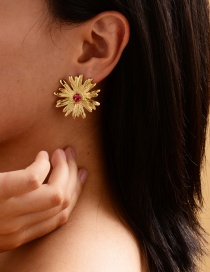 Fashion Gold Color Alloy Flower And Diamond Earrings