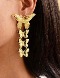 Fashion Gold Color Alloy Butterfly Embossed Tassel Earrings
