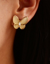 Fashion Gold Color Alloy Diamond Resin Butterfly Stud Earrings
