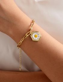 Fashion Gold Color Alloy Drip Daisy Thick Chain Bracelet