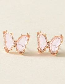 Fashion Pink Alloy Resin Butterfly Ear Studs