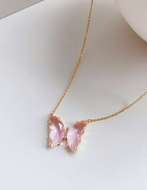 Fashion Pink Alloy Resin Butterfly Necklace