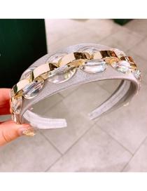 Fashion Crystal Shell Pearl Chain Transparent Crystal Widened Non-slip Headband