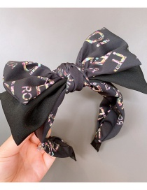 Fashion Bow Knot Black Letter Double-layer Bow Knot Cross Stitching Striped Headband