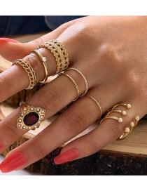 Fashion Golden Open Pearl Hollow Oil Drop Diamond Ring Set