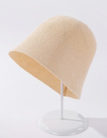 Fashion Beige Pure Color Light Board Knitted Bucket Hat