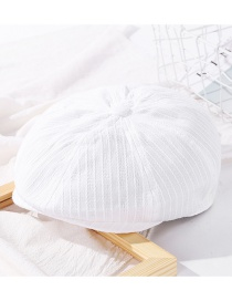 Fashion White Solid Color Stitching Cotton Beret