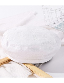 Fashion White Pleated Cotton Solid Color Beret