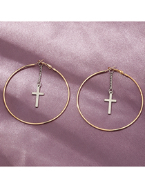 Fashion Gold Color Geometric Circle Cross Earrings