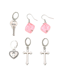 Fashion Color Mixing Cross Dice Key Resin Alloy Earring Set