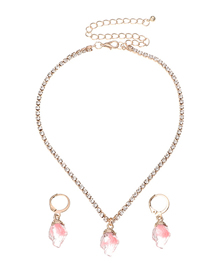 Fashion Pink Irregular Rough Stone Resin Necklace And Earring Set