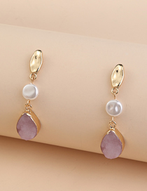 Fashion Pink Resin Drop-shaped Pearl Alloy Earrings