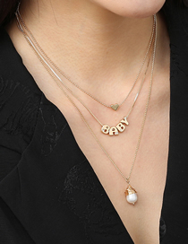 Fashion Gold Color Letters Hand-wound Pearl Pendant Multilayer Necklace