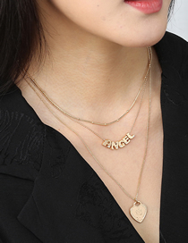 Fashion Gold Color Letter Love Alloy Multilayer Necklace