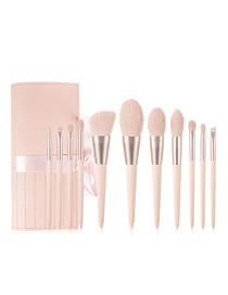 Fashion White Pointed Cosmetic Brush With Bag Set