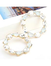 Fashion White Round Alloy Diamond Earrings