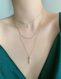 Fashion Golden Cross Love Alloy Multilayer Necklace