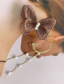 Fashion Single Hand-made Butterfly Embroidery Elves Without Pierced Ear Clips
