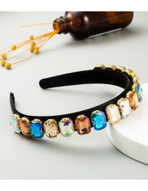Fashion Color Geometry Alloy Headband With Gems