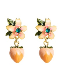 Fashion Light Pink Resin Peach Diamond Flower Alloy Earrings