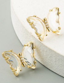Fashion Transparent White Butterfly Resin Alloy Diamond Earrings