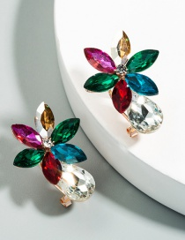 Fashion Color Alloy Earrings With Diamonds And Flowers