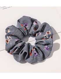 Fashion Golden Silk Floral-smoky Gray Golden Floral Print Mesh Large Intestine Ring Hair Rope