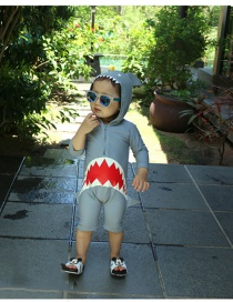 Fashion Boy Grey Shark Shark Print Hooded Childrens One-piece Swimsuit