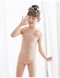 Fashion Childrens Powder + Pink Flower Childrens One-piece Swimsuit With Mesh Flowers Leaking Back