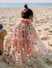 Fashion Large Sequined Veil Net Yarn Lace Love Childrens One-piece Swimsuit Shawl