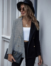 Fashion Black Check Pattern Stitching Contrast Cardigan Button Lapel Coat