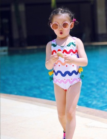 Fashion Eight Bows Childrens One-piece Swimsuit With Wave Pattern And Bow