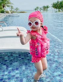 Fashion Triangle Flower Rabbit Ruffled Leaf Smiley Face Print Childrens Buoyancy One-piece Swimsuit