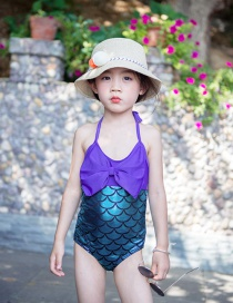 Fashion Purple Mermaid Bow-knot Mermaid Contrast Color One-piece Boxer Swimsuit