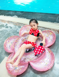 Fashion Split Mickey Polka Dot Print Bowknot Contrast Color Childrens Swimsuit