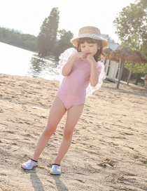 Fashion Pink Pearl Net Yarn Pearl Ruffled Childrens One-piece Swimsuit