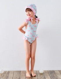 Fashion Siamese Blue Flamingo Childrens One-piece Swimsuit With Flamingo Print Bow