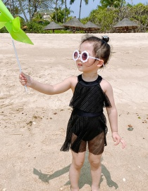 Fashion Black Silver Wire Mesh Leaky Back Sleeveless Childrens One-piece Swimsuit
