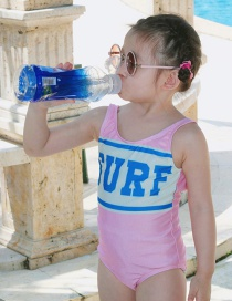 Fashion Vermicelli Letters Conjoined Childrens One Piece Swimsuit