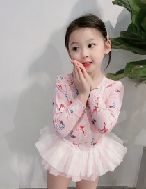 Fashion Pink Cat Printed Net Yarn Childrens One-piece Swimsuit