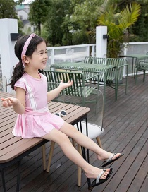 Fashion Pink Striped Contrast Stitching Childrens One-piece Swimsuit