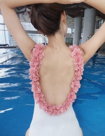 Fashion Adult White + Pink Flower Three-dimensional Flower Open Back One-piece Swimsuit