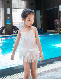 Fashion White Swan Leaky Back Embroidery Sequined Swan Skirt Split Swimsuit For Children