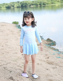 Fashion Blue Striped Letters Childrens One-piece Swimsuit